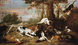 A Boar Hunt, 1653 by Frans Snyders | Painting Reproduction