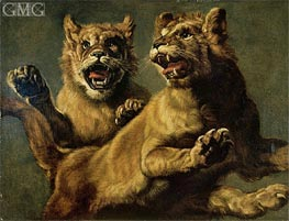 Two Young Lions Jumping | Frans Snyders | Painting Reproduction