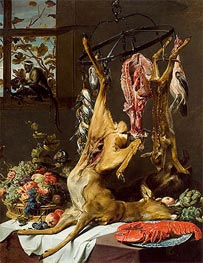 Still Life with Game Suspended on Hooks with Lobster and Two Monkeys, c.1640/50 by Frans Snyders | Painting Reproduction