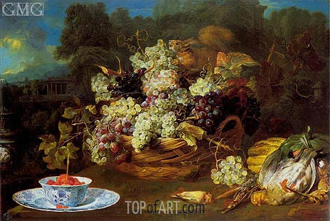 Basket of Fruit in a Landscape with Squirrel, c.1650/60 | Frans Snyders | Painting Reproduction