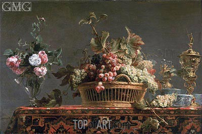 Grapes in a Basket and Roses in a Vase, Undated | Frans Snyders | Gemälde Reproduktion