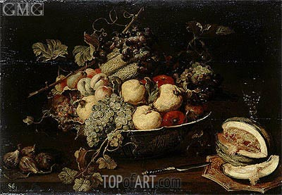 Fruit in a Bowl and a Sliced Melon, c.1650 | Frans Snyders | Gemälde Reproduktion
