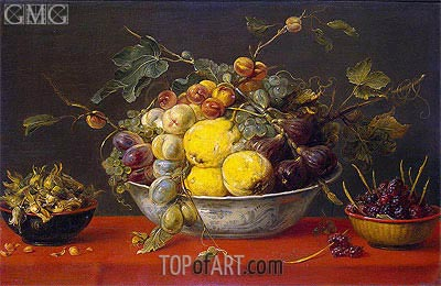 Fruit in a Bowl on a Red Cloth, c.1640 | Frans Snyders | Painting Reproduction
