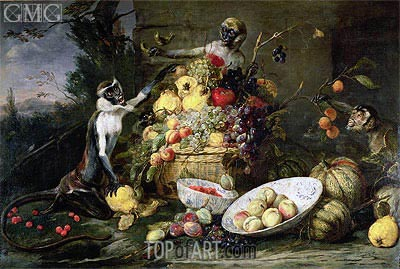 Three Monkeys Stealing Fruit, 1640 | Frans Snyders | Painting Reproduction
