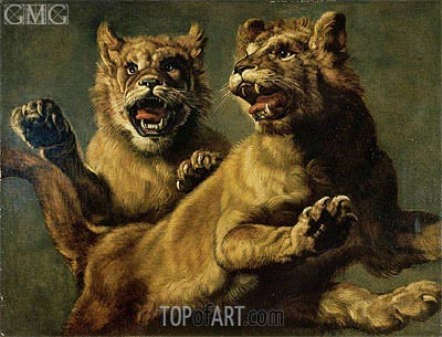 Two Young Lions Jumping, Undated | Frans Snyders | Painting Reproduction