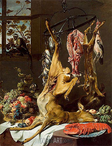 Still Life with Game Suspended on Hooks with Lobster and Two Monkeys, c.1640/50 | Frans Snyders | Painting Reproduction