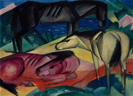 Three Horses II, 1913 by Franz Marc | Painting Reproduction