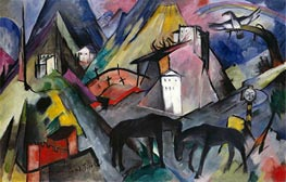 The Unfortunate Land of Tyrol, 1913 by Franz Marc | Painting Reproduction