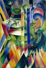 The Little Mountain Goats, 1913/14 by Franz Marc | Painting Reproduction