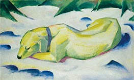 Dog Lying in the Snow, c.1911 by Franz Marc | Painting Reproduction