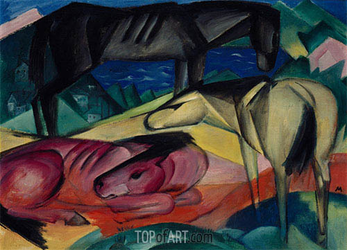 Three Horses II, 1913 | Franz Marc | Painting Reproduction