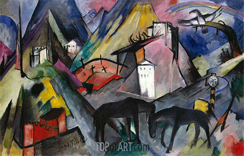 The Unfortunate Land of Tyrol, 1913 | Franz Marc | Painting Reproduction