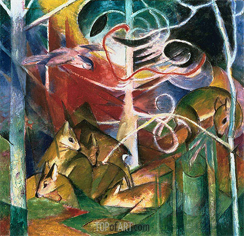 Deer in the Forest I, 1913 | Franz Marc | Painting Reproduction