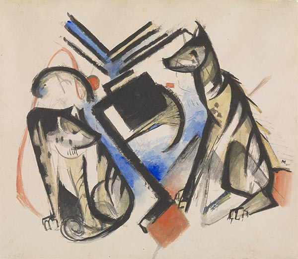 Two Wolves, 1913   Franz Marc   Painting Reproduction