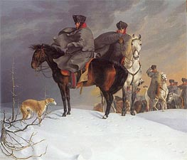 Prussian Cavalry Outpost in the Snow, 1821 by Franz Kruger | Painting Reproduction