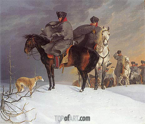 Prussian Cavalry Outpost in the Snow, 1821 | Franz Kruger | Painting Reproduction