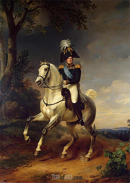 Equestrian Portrait of Alexander I, 1837 | Franz Kruger | Painting Reproduction