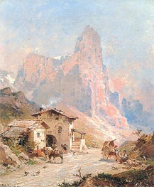 Figures in a Village in the Dolomites | Unterberger | Painting Reproduction