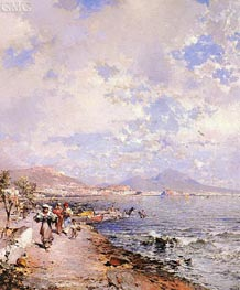 The Bay of Naples, undated by Unterberger | Painting Reproduction