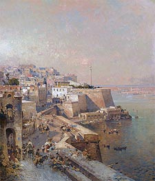 Manderaggio in La Valletta, Malta, undated by Unterberger | Painting Reproduction