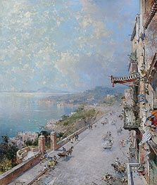 View of Posilipo, near Naples, undated by Unterberger | Painting Reproduction