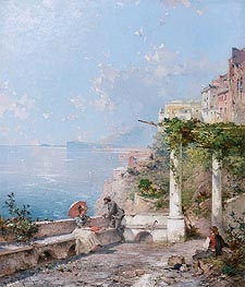 Sorrento, on the Bay of Naples, undated by Unterberger | Painting Reproduction