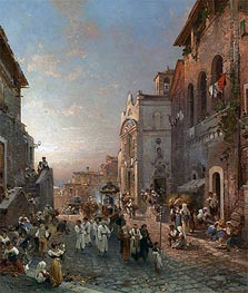 Religious Procession in Italian City, undated by Unterberger | Painting Reproduction