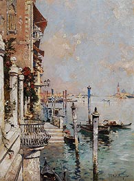 Venice, View of a Canal across the Grand Canal towards the Church of San Giorgio, 1902 by Unterberger | Painting Reproduction