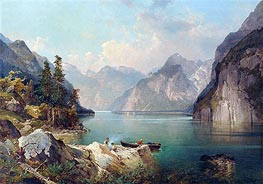 Resting in Alps, c.1876/77 by Unterberger | Painting Reproduction