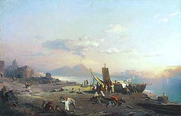 Fisherfolk on the Shore, Vesuvius beyond, 1869 von Unterberger | Gemälde-Reproduktion