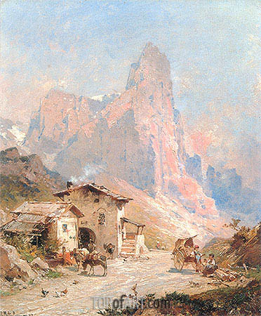 Figures in a Village in the Dolomites, 1887 | Unterberger | Gemälde Reproduktion