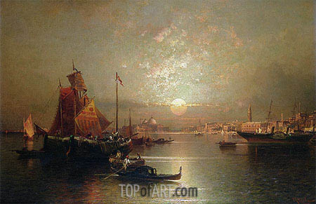Shipping on the Lagoon, Venice at Sunset, undated | Unterberger | Painting Reproduction