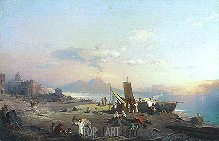 Fisherfolk on the Shore, Vesuvius beyond, 1869 | Unterberger | Painting Reproduction