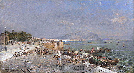 On the Waterfront, Palermo, undated | Unterberger | Painting Reproduction