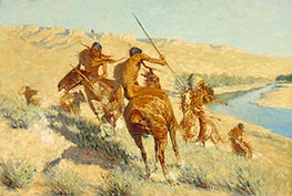 Episode of the Buffalo Gun, 1909 by Frederic Remington | Painting Reproduction
