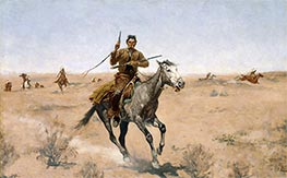 The Flight (A Sage-Brush Pioneer) | Frederic Remington | Painting Reproduction