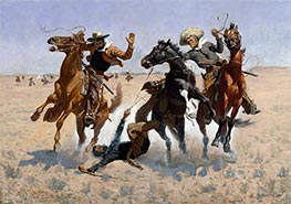 Aiding a Comrade, c.1889/90 by Frederic Remington | Painting Reproduction