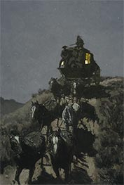 The Old Stage-Coach of the Plains | Frederic Remington | Painting Reproduction