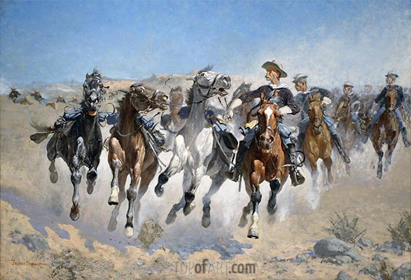 Dismounted: The Fourth Troopers Moving the Led Horses, 1890 | Frederic Remington | Painting Reproduction