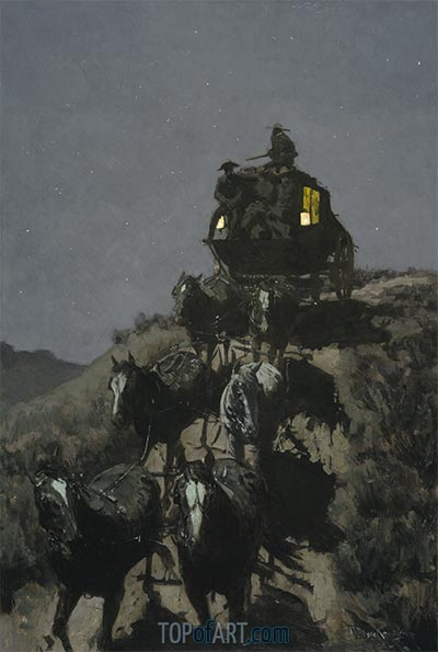 The Old Stage-Coach of the Plains, 1901 | Frederic Remington | Painting Reproduction