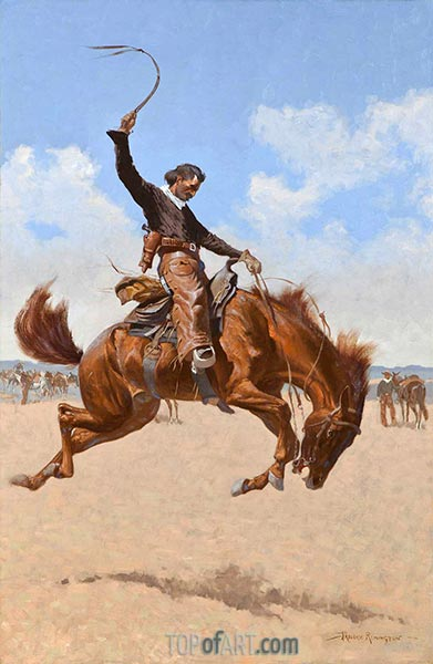 Ein Buck-Jumper, c.1893 | Frederic Remington | Gemälde Reproduktion