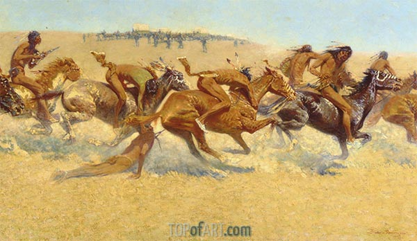 Indian Warfare, 1908 | Frederic Remington | Painting Reproduction