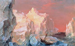 Icebergs and Wreck in Sunset, c.1860 von Frederic Edwin Church | Gemälde-Reproduktion