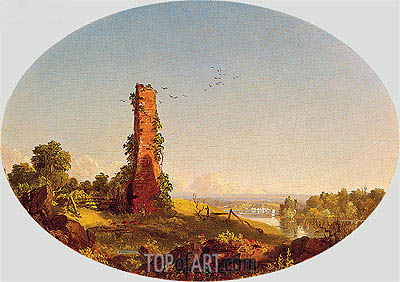 New England Landscape with Ruined Chimney, 1846 | Frederic Edwin Church | Painting Reproduction