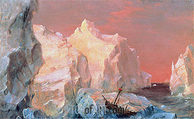 Icebergs and Wreck in Sunset, c.1860 | Frederic Edwin Church | Painting Reproduction