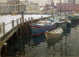 Gloucester Harbor, Winter | Frederick J. Mulhaupt | Painting Reproduction