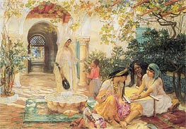 In the Courtyard, El Biar, undated by Frederick Arthur Bridgman | Painting Reproduction