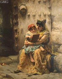 The Reading Lesson, 1880 by Frederick Arthur Bridgman | Painting Reproduction