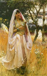 Moorish Girl, Algiers Countryside, 1880 by Frederick Arthur Bridgman | Painting Reproduction