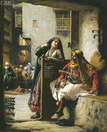 Almeh Flirting with an Armenian Policeman, Cairo, undated by Frederick Arthur Bridgman | Painting Reproduction